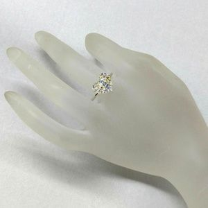 Silver Swarovski Crystal Heart Bling Ring